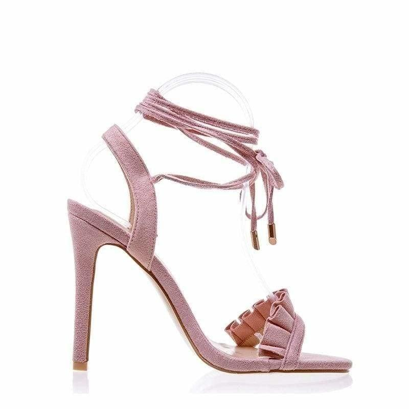 Ruffle Cross Ankle Strap High Heels Sandals - Pink / 6.5 - Sandals