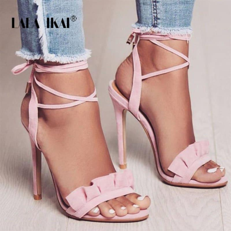 Ruffle Cross Ankle Strap High Heels Sandals - Sandals