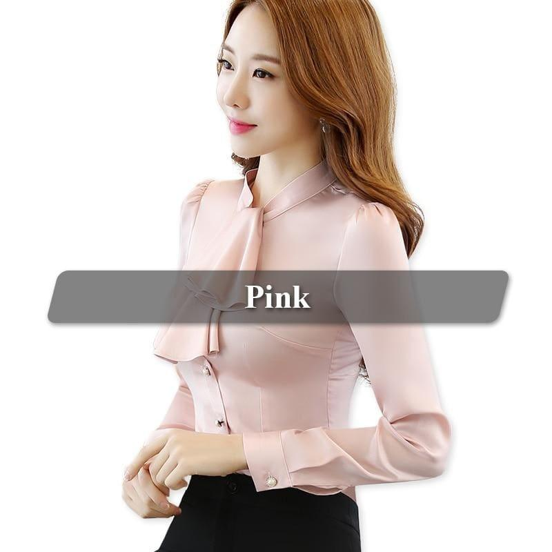 Ruffled Collar Pink Slim Fit Chiffon Shirt Blouse - Pink / 4Xl - Long Sleeve