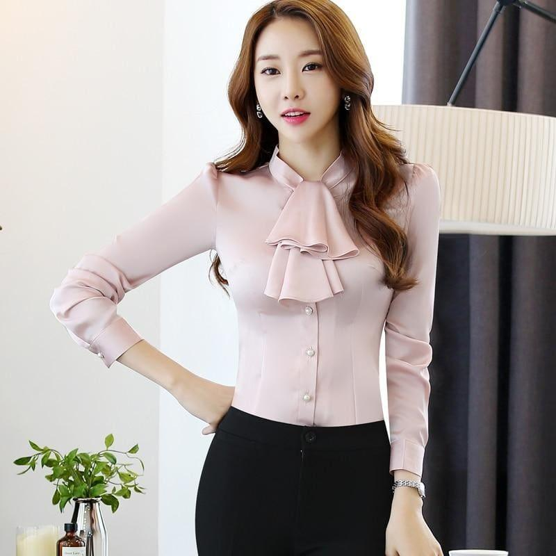 Ruffled Collar Pink Slim Fit Chiffon Shirt Blouse - Long Sleeve