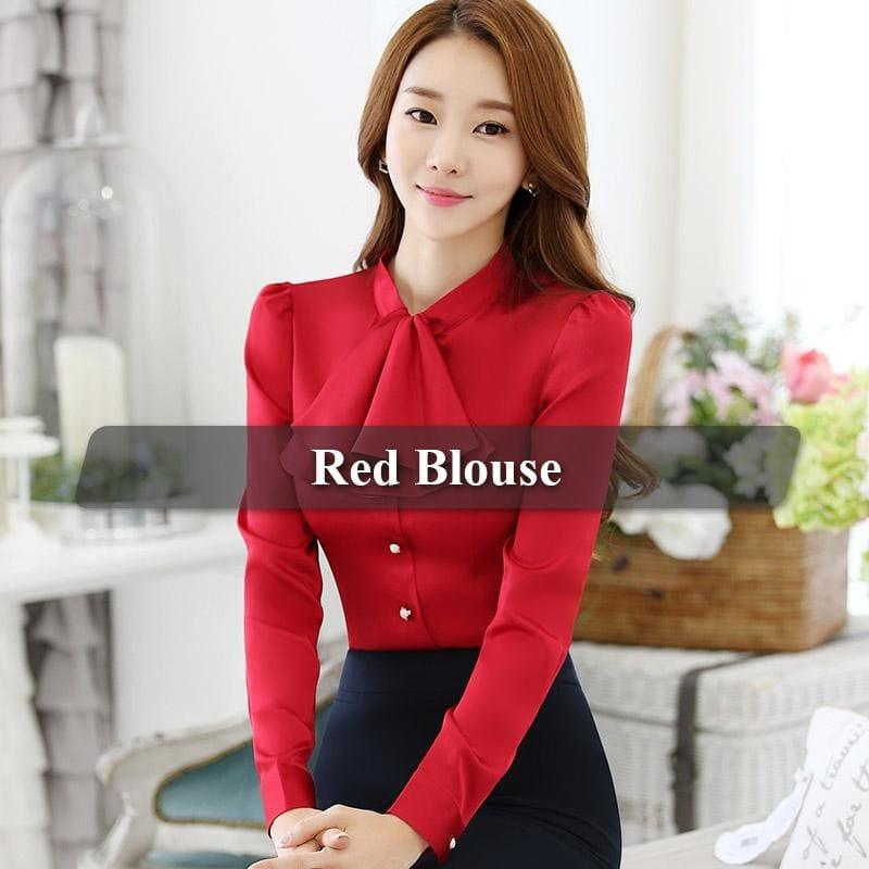 Ruffled Collar Pink Slim Fit Chiffon Shirt Blouse - Red / 4Xl - Long Sleeve