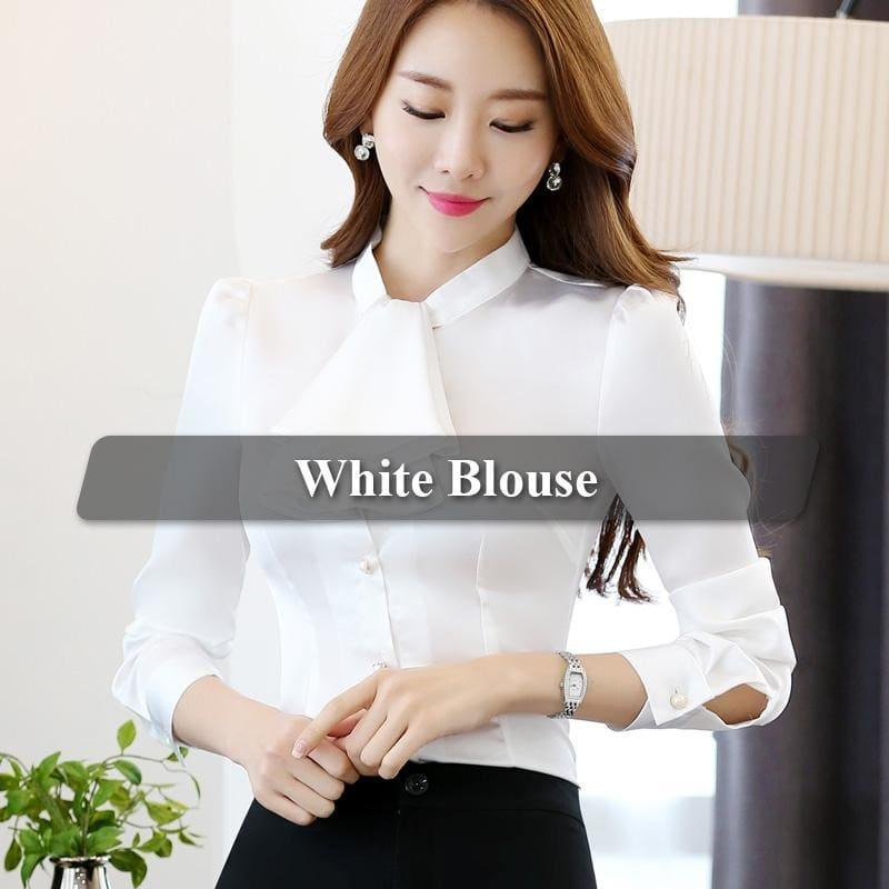 Ruffled Collar Pink Slim Fit Chiffon Shirt Blouse - White / 4Xl - Long Sleeve