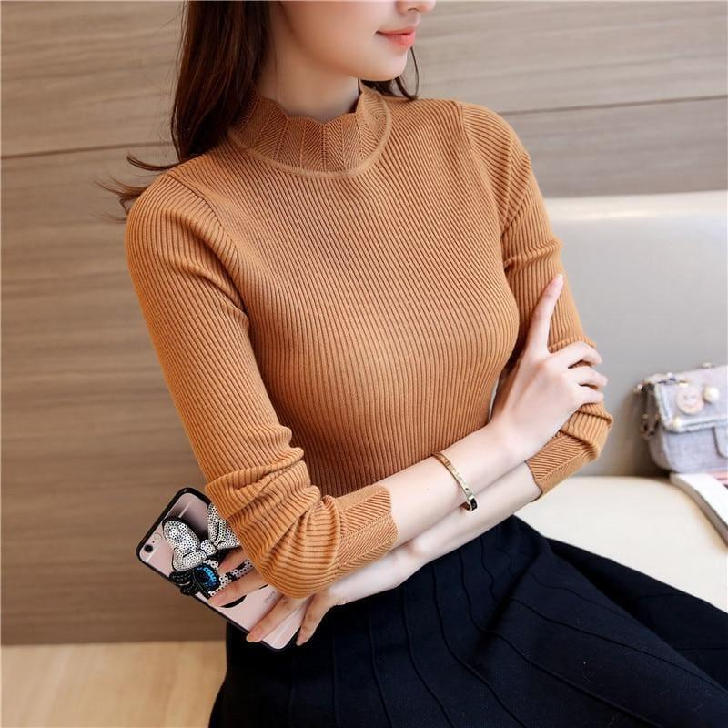 Ruffled Sleeve Turtleneck Solid Slim Fit Sweater Blouse - Camel / M - Long Sleeve