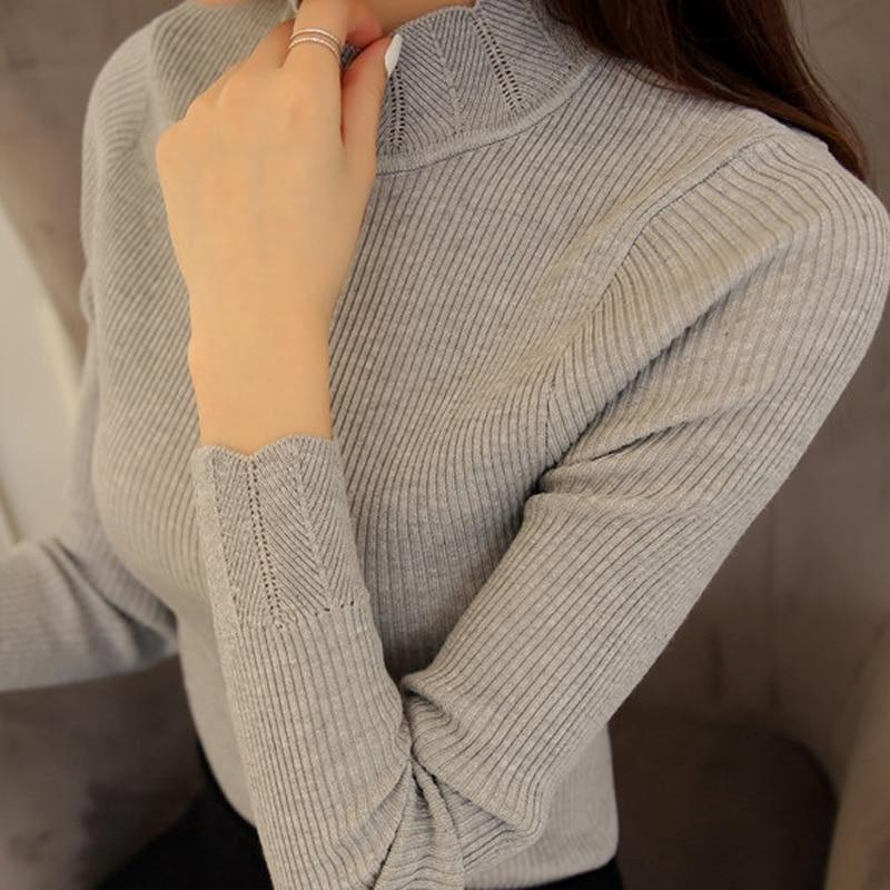 Ruffled Sleeve Turtleneck Solid Slim Fit Sweater Blouse - Long Sleeve