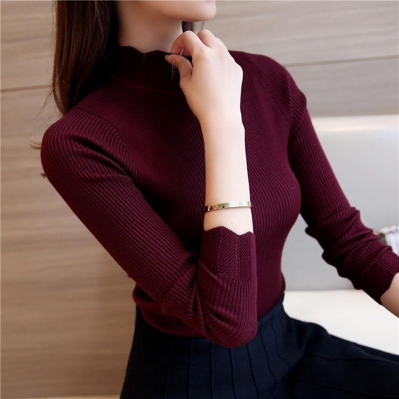 Ruffled Sleeve Turtleneck Solid Slim Fit Sweater Blouse - Purple Red / M - Long Sleeve