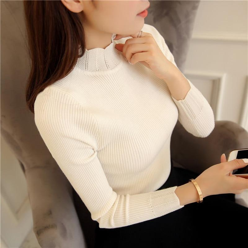 Ruffled Sleeve Turtleneck Solid Slim Fit Sweater Blouse - White / M - Long Sleeve