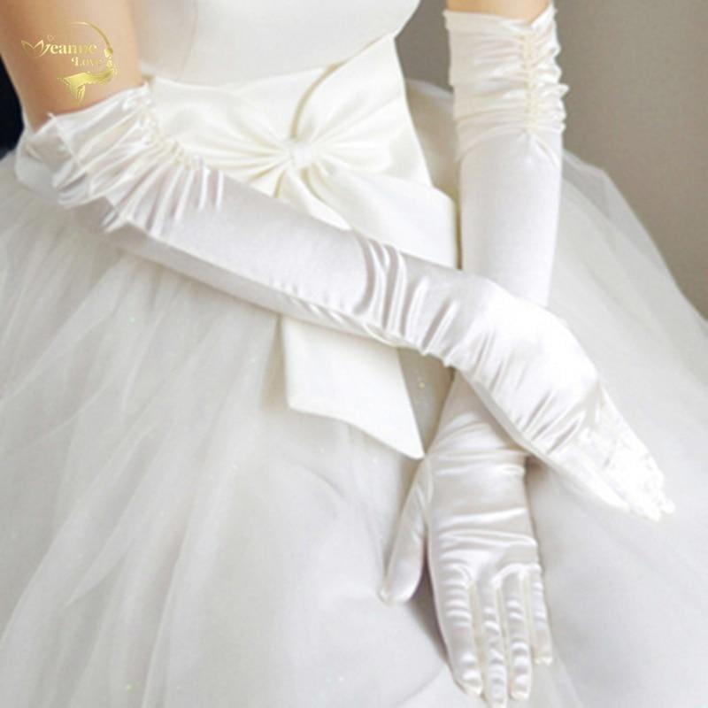 Satin Elbow Length Top Quality Beaded Wedding Bridal Gloves - WHITE - Gloves