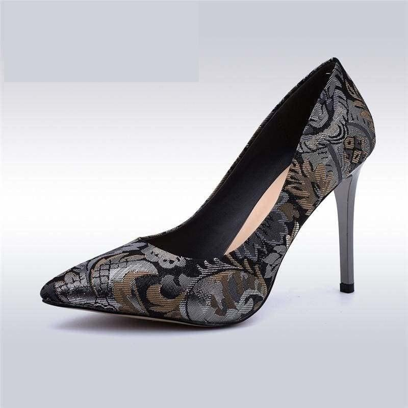 Satin Slip On Pointed Toe Pump Flower Print Pumps - Pumps