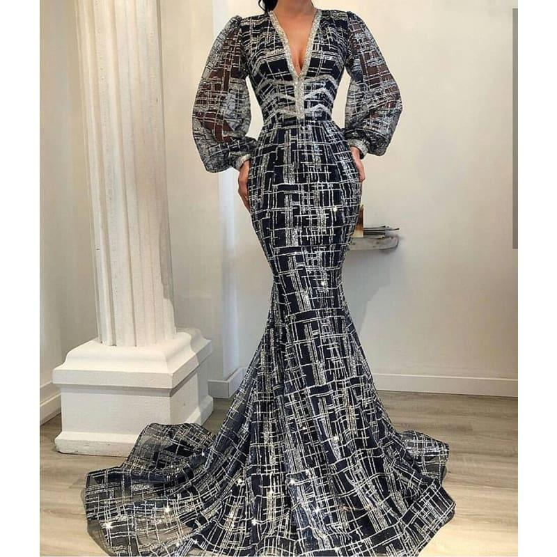 Saudi Arabian Mermaid Evening Elegant Long Sleeve V Neck Glitter Formal Dress - Color as Picture / 2 - Gown