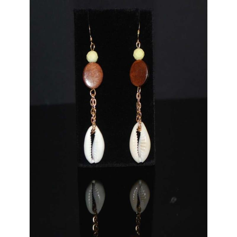 Sea Shell Cowrie and Wood Boho Womens Earrings - Handmade