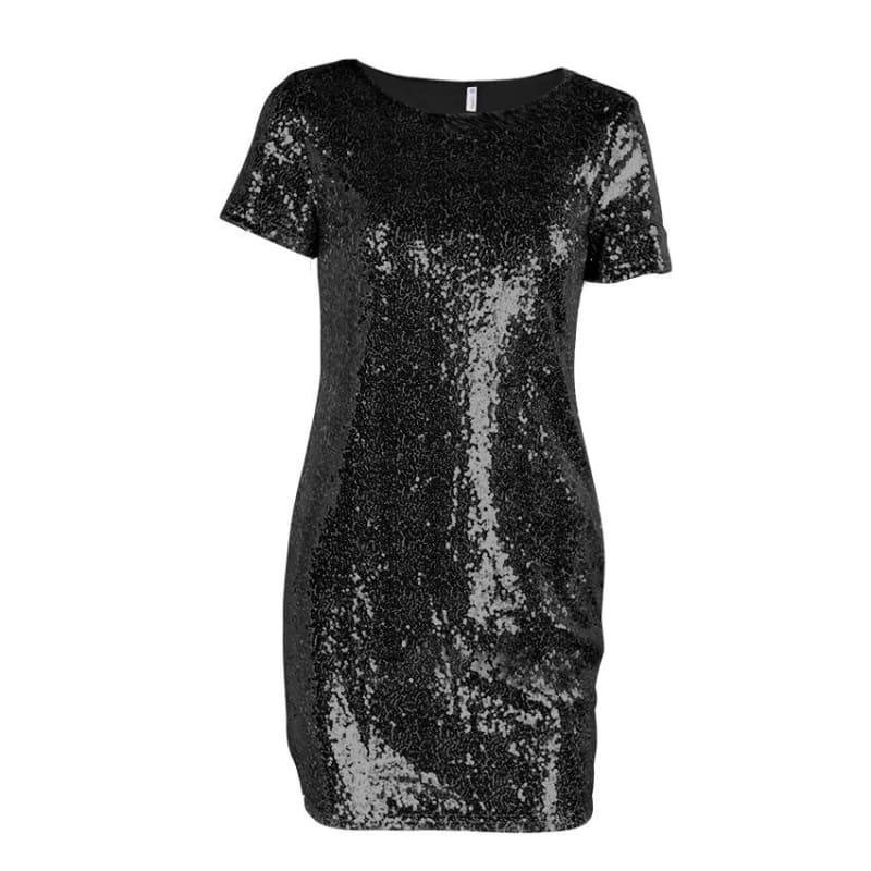 Sequins Gold T Shirt Evening Mini Dress - Black / L - Mini Dress