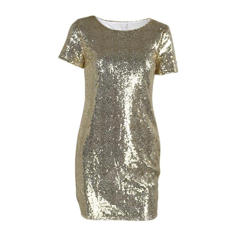 Sequins Gold T Shirt Evening Mini Dress - Gold / L - Mini Dress