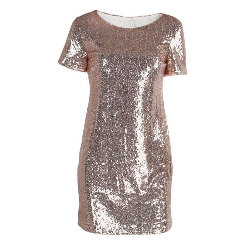 Sequins Gold T Shirt Evening Mini Dress - Pink / L - Mini Dress