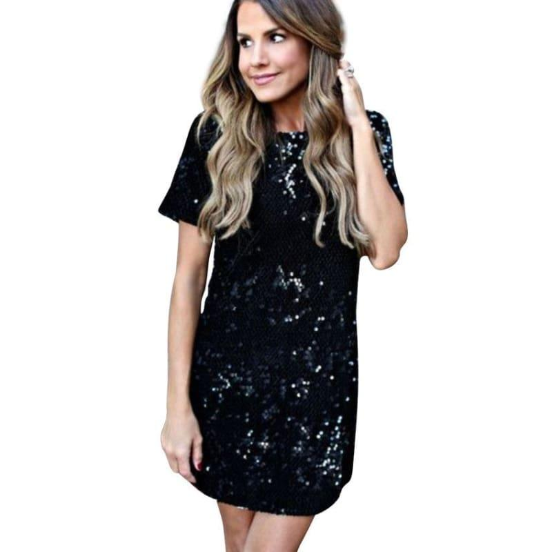 Sequins Gold T Shirt Evening Mini Dress - Mini Dress