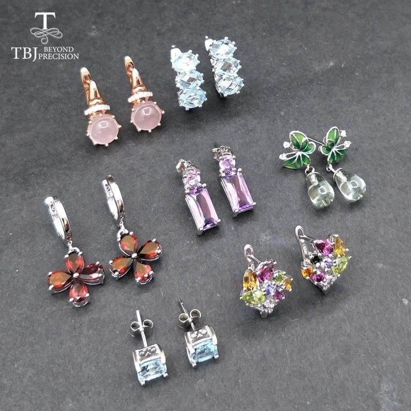 Seven Day Natural Gemstone 925 Silver Sterling Monday to Sunday Earrings Set - Earrings