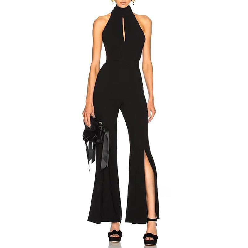 Sexy Halter Off Shoulder Backless Side Split Bandage Jumpsuits - jumpsuits