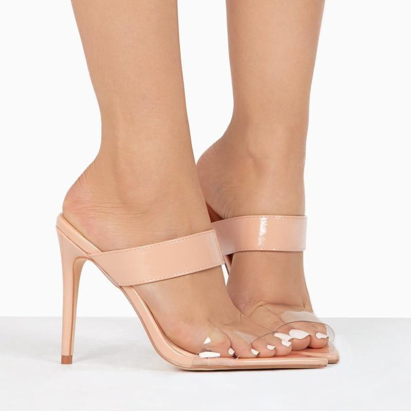 Sexy Transparent Straps Open Back High Heels Pointed Toe Sandals - Sandals