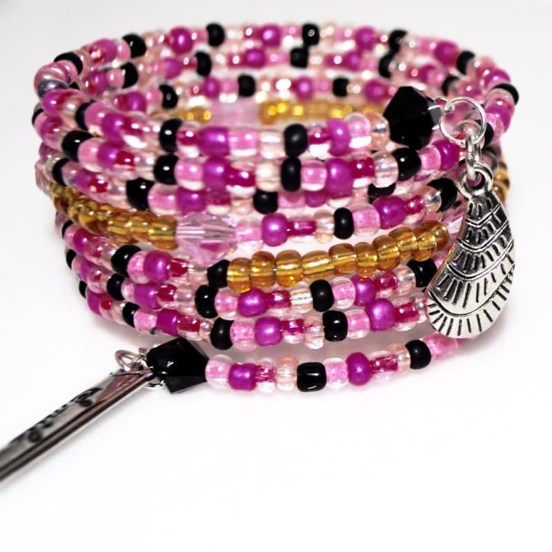 Shades Of Pink Seed Bead With Charms Wrap Around Bracelets - Handmade