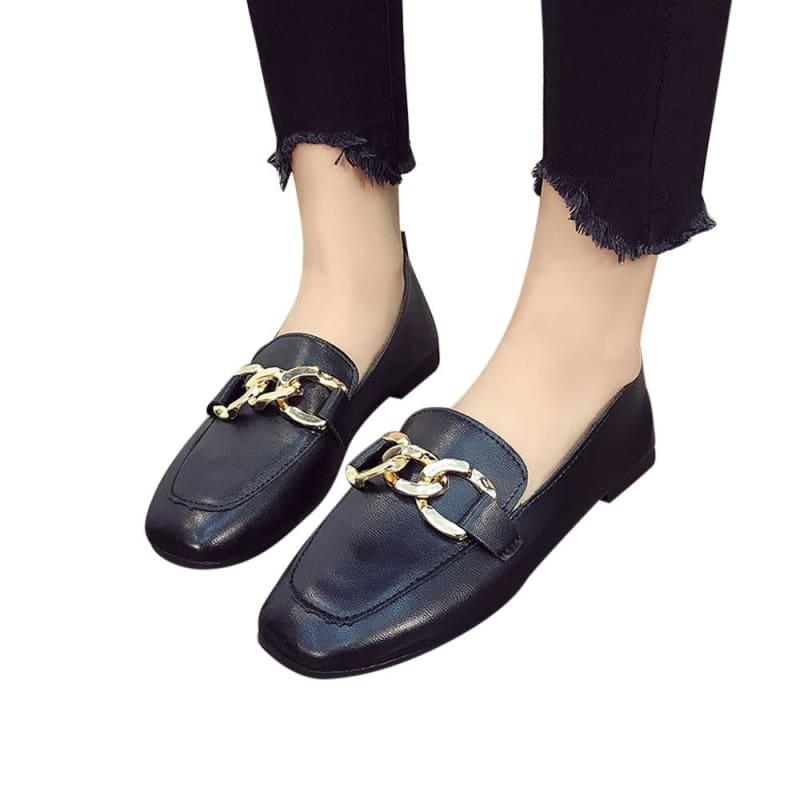 Shallow Mouth Loafers Summer Fashion Sweet Flats - Black / 35 - Flats