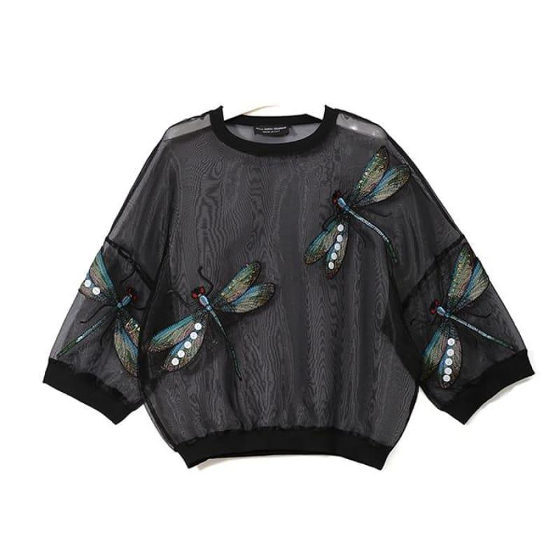 Sheer Oversized Dragonfly Long Sleeve Transparent T-Shirt - 3394 Black / One Size