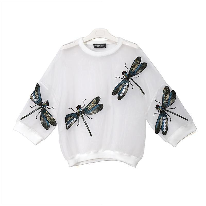 Sheer Oversized Dragonfly Long Sleeve Transparent T-Shirt - 3394 White / One Size
