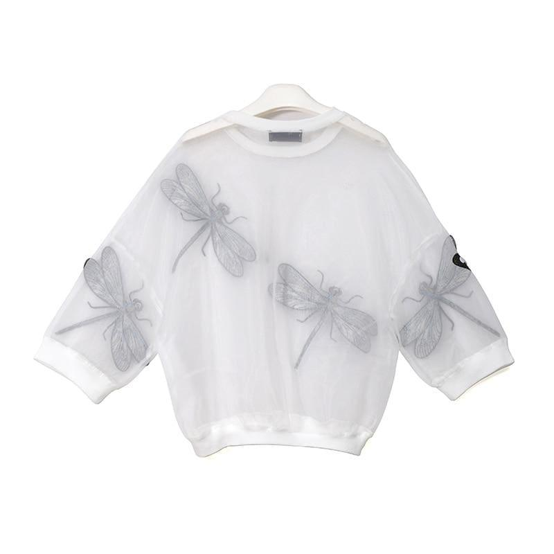 Sheer Oversized Dragonfly Long Sleeve Transparent T-Shirt