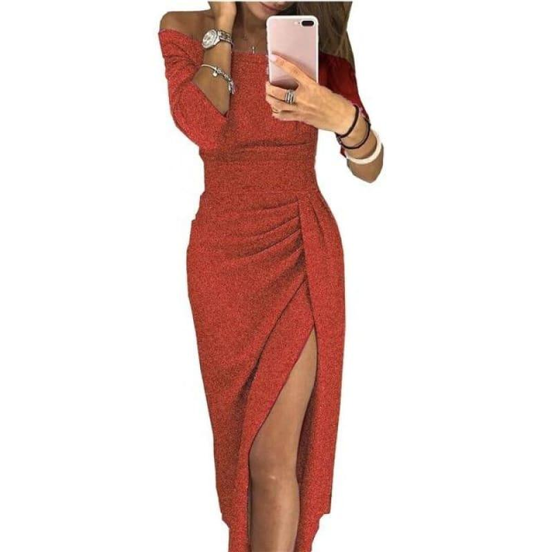 Shiny Off Shoulder Ruched Thigh Slit Sexy Sequin Bandage Partevening Cocktail Midi Dress - Red / L - Midi