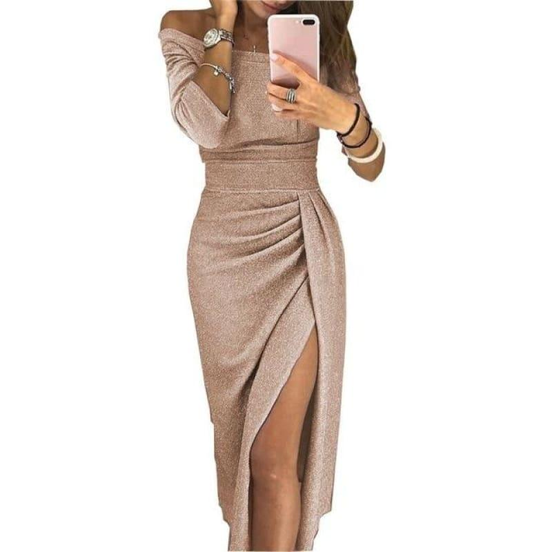 Shiny Off Shoulder Ruched Thigh Slit Sexy Sequin Bandage Partevening Cocktail Midi Dress - Tan / L - Midi