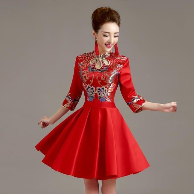 Short Modern Cheongsam Qipao Chinese Oriental Style Mini Dress - Red / S - Mini Dress