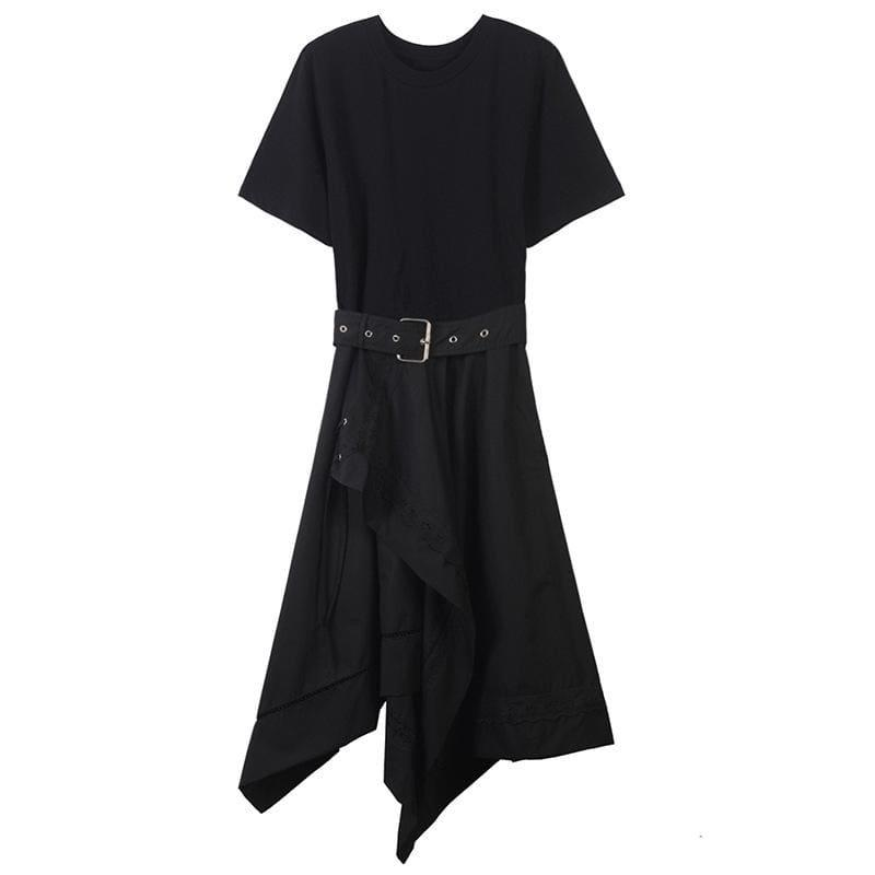 Short Sleeve O Neck With Belt Slim Black Asymmetrical Midi Dress - Black / L - Midi Dress