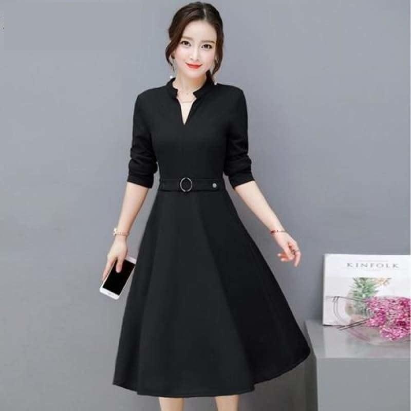 Side Pocket V Neck Vintage Slim Ladies Midi Dress - Black / L - Midi Dress