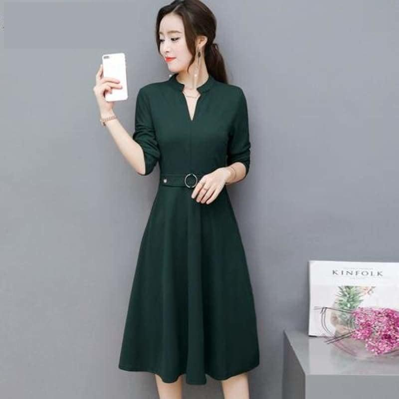 Side Pocket V Neck Vintage Slim Ladies Midi Dress - Green / L - Midi Dress