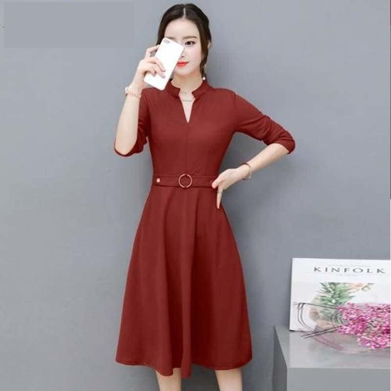 Side Pocket V Neck Vintage Slim Ladies Midi Dress - Red / L - Midi Dress