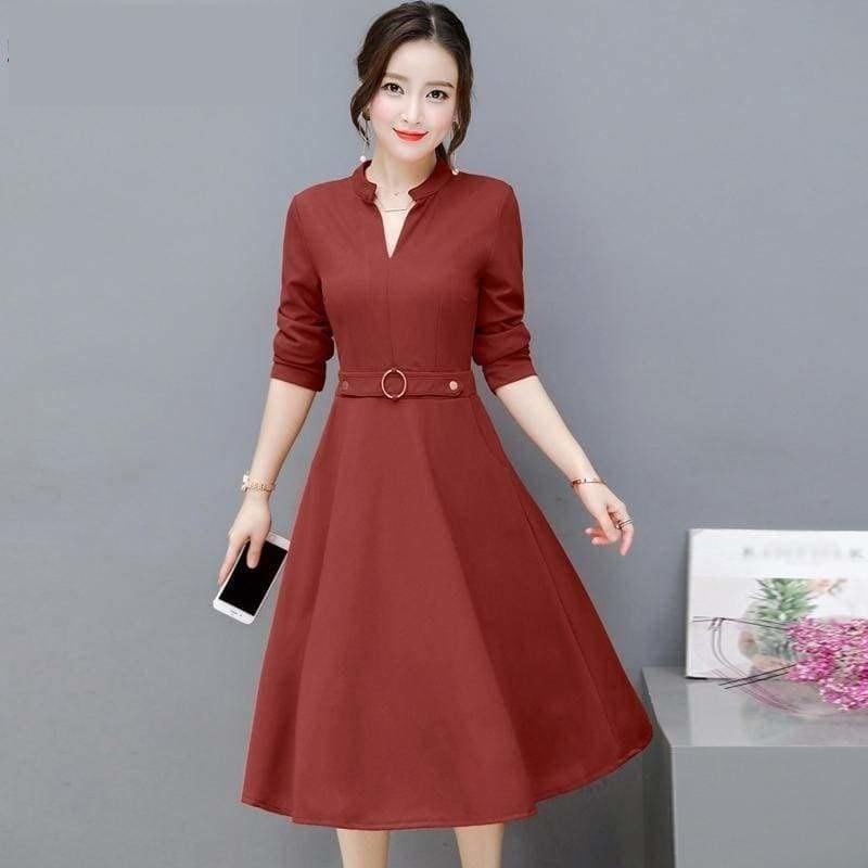 Side Pocket V Neck Vintage Slim Ladies Midi Dress - Midi Dress
