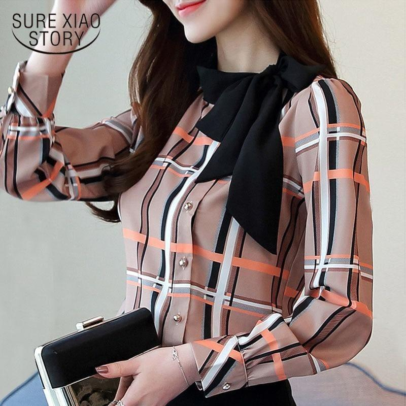 Side Shoulder Bowtie Stripped Long Sleeve Chiffon Top - Long Sleeve