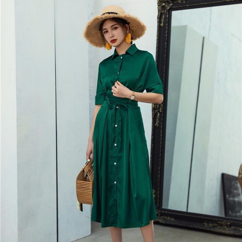 Side Slit Chiffon Buttonup Short Sleeve High Waist Sexy Maxi Dress - Green Dress / L - Maxi Dress