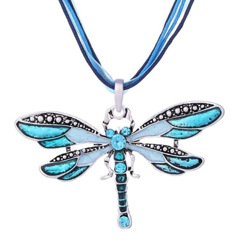 Silver Dragonfly Statement Boho Necklaces - XL977AAA - necklace