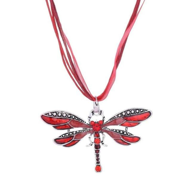 Silver Dragonfly Statement Boho Necklaces - XL978AAA - necklace