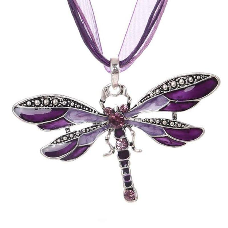 Silver Dragonfly Statement Boho Necklaces - XL981AAA - necklace