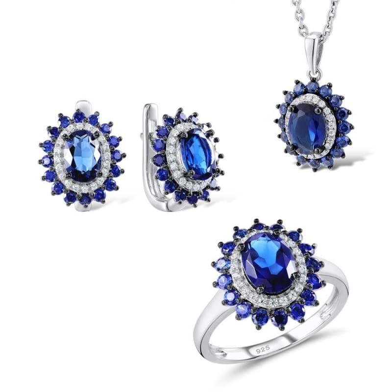 Silver Flower Jewelry Set Bridal Wedding Jewelry Set Blue CZ Stones Ring Earrings Pendant Set 925 Sterling Silver Jewelry Set - 7.25 -