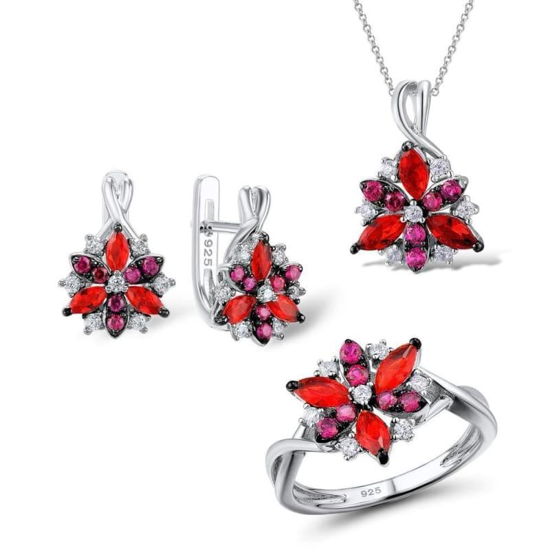 Silver Flower Red Cubic Zirconia Stones Ring Earrings Pendant Jewelry Set - 5.5 - jewelry set