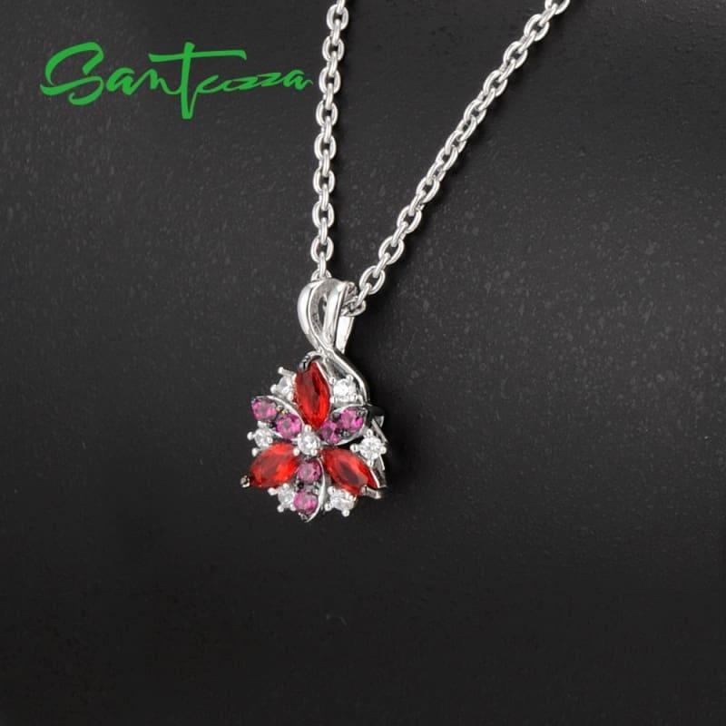 Silver Flower Red Cubic Zirconia Stones Ring Earrings Pendant Jewelry Set - jewelry set