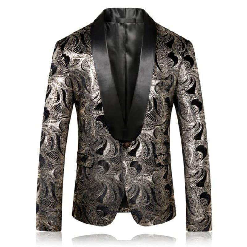 Silver Printed Blazer Casual Mens Tuxedo Jacket - Silver / XXXL - Mens Jackets