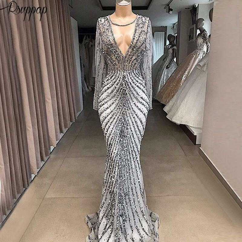 Silver Sparkly See Through Long Sleeve Beaded Crystals Formal Women Evening Dress Ball Gown - gown