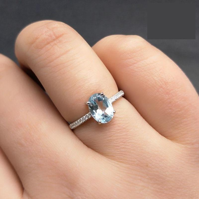 Simple and Classic 1.2ct Natural Sky Blue Topaz 6*8mm Gemstone Ring - rings