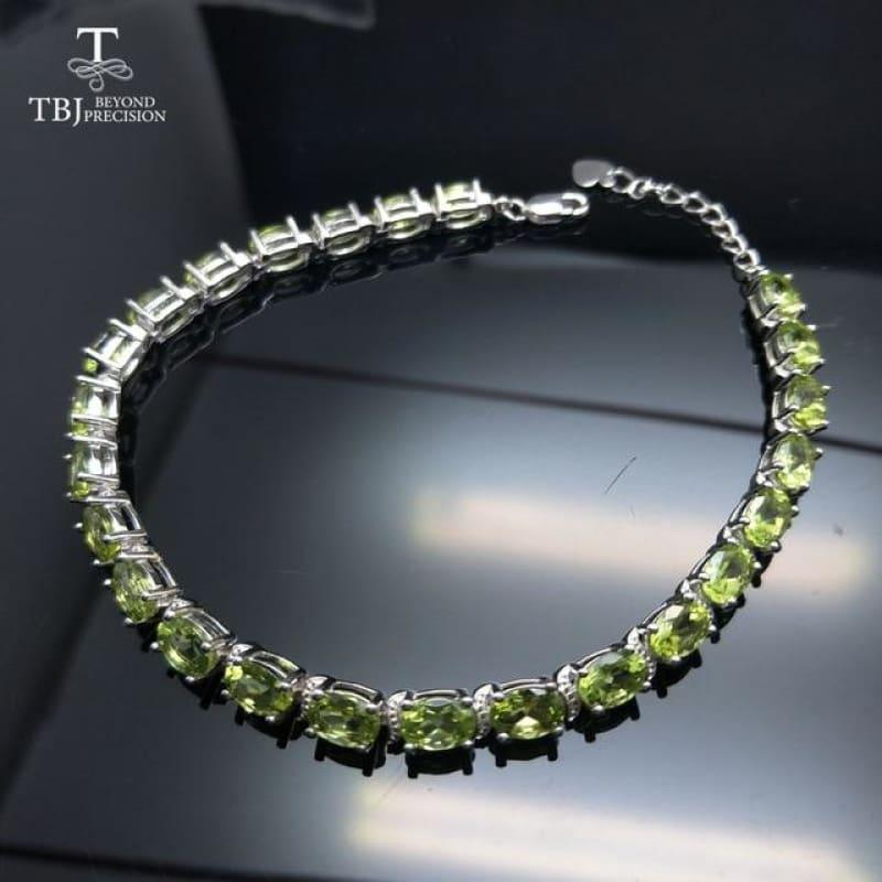 Simple and Classic 12ct Peridot Gemstone Bracelet - Peridot / approx.20cm - bracelets