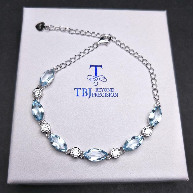 Simple Blue Topaz in 925 Sterling Silver Bracelet - Bracelets