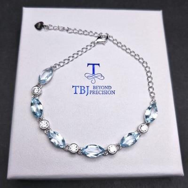 Simple Blue Topaz in 925 Sterling Silver Bracelet - sky topaz / total lenghth 21cm - Bracelets