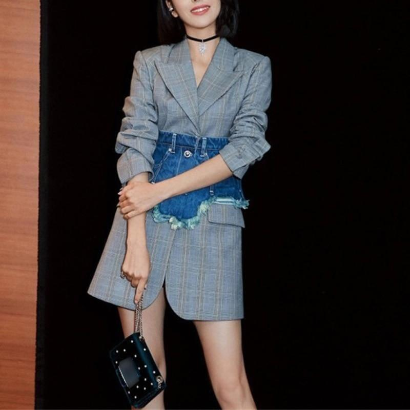 Singe Button Plaid With Denim Wide Belt Long Sleeve Slim Tunic High Waist Streetwear Blazer - Blazer