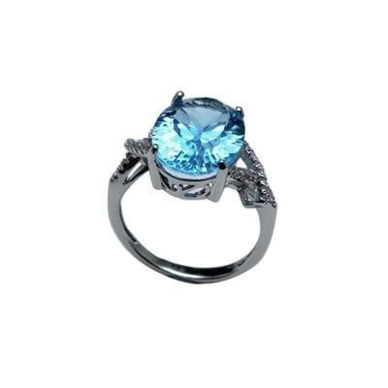 Sky Blue Topaz Oval 10*14mm Concave Cut Simple Gemstone Ring - sky blue topaz / 6 - Rings
